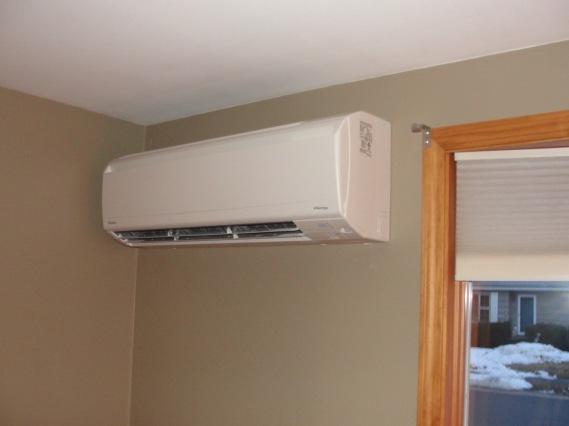 Heat pump in living room