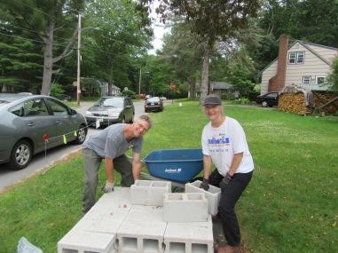 Mike & Sharon hauling cinder blocks