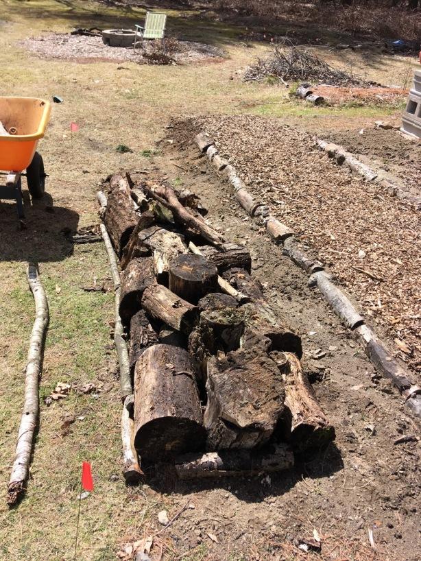 Logs layer hugelkultur