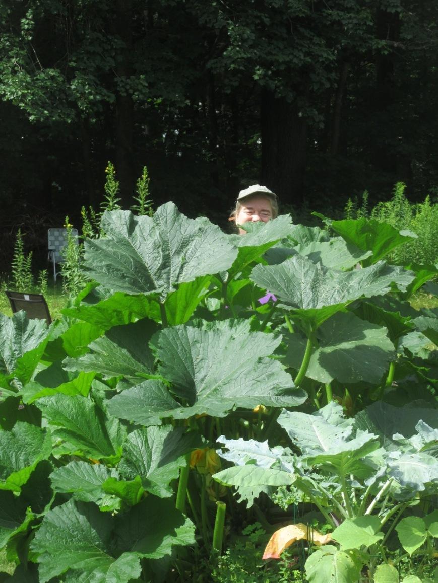 Myke behind the zucchini