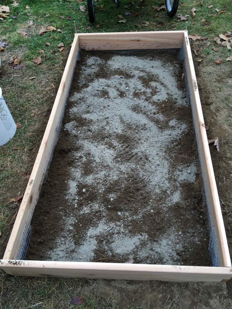 Rock dust over soil in raised bed.